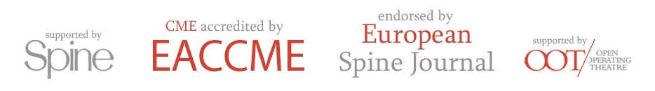 Logos of Endorsed by European Spine Journal, CME Accredited by EACCME, Supported by Spine and Open Operating Theatre
