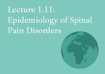 1.11 Epidemiology of Spinal Pain Disorders