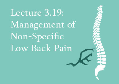 3.19 Management of non-specific low back pain